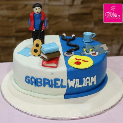 Blue White Theme Birthday Cake