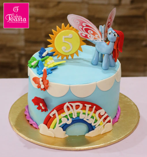 Butterfly Cartoon Theme Birthday Cake