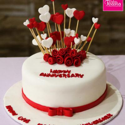 Heart Flowers Theme Anniversary Cake