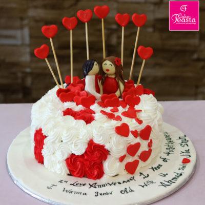 Heart Theme Anniversary Cake