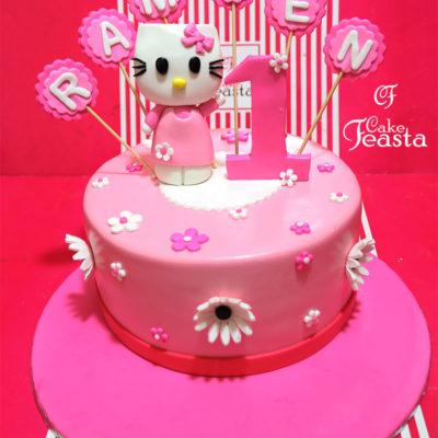 Pink Kitty Kids Birthday Cake