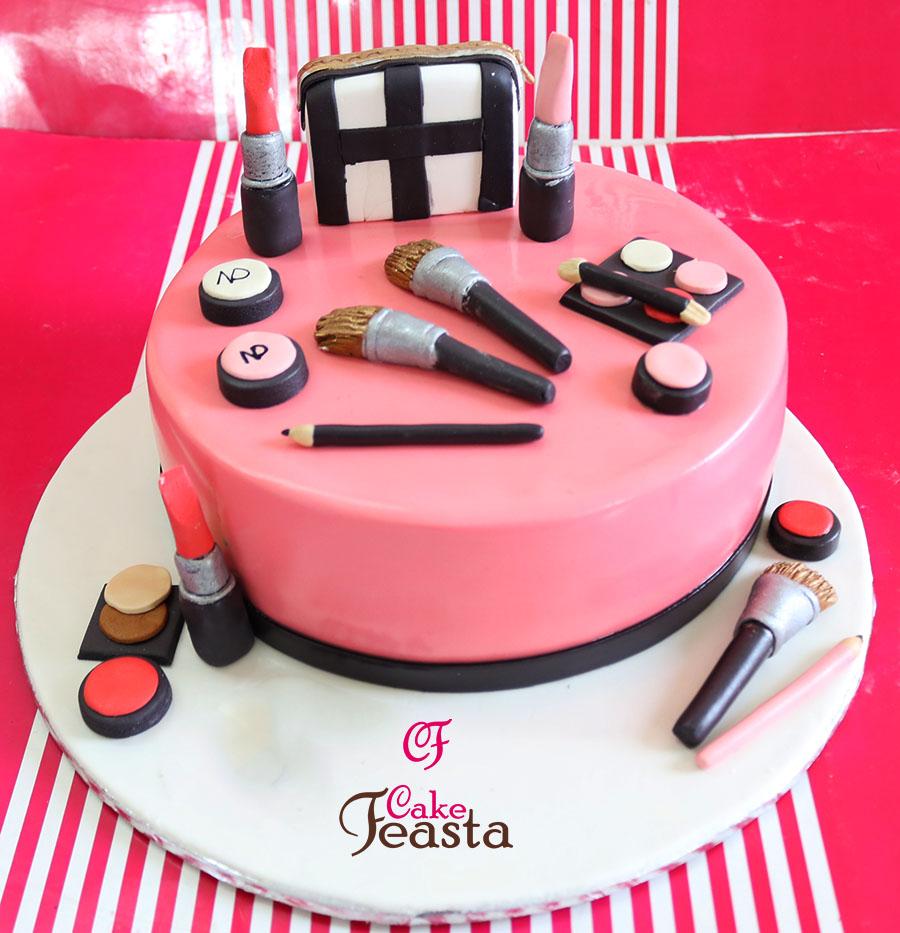Makeup Kit On Pink Cake - Customized