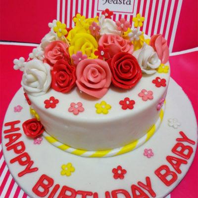 Multi Flowers Birthday Cake