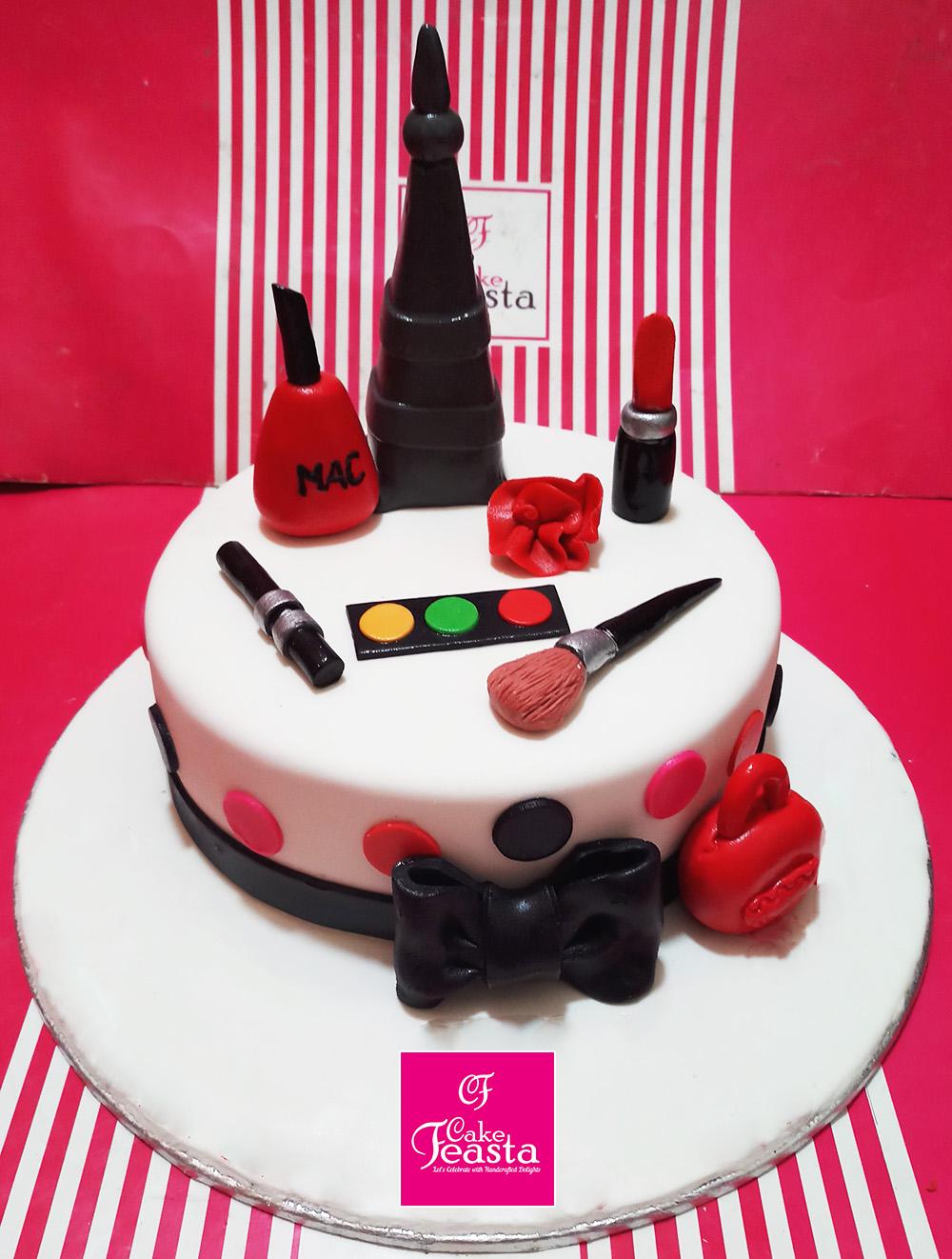 Red Makeup kit Cake - Customized Cakes