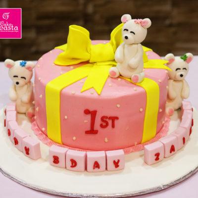 White Bear Gift Birthday Cake