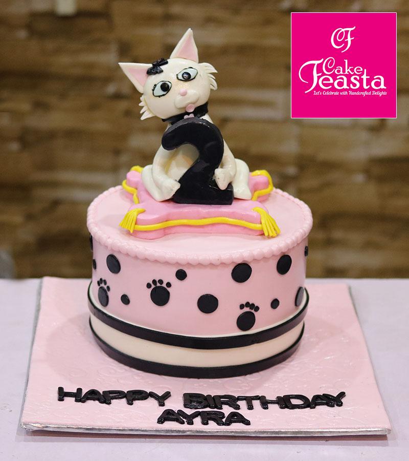 Crazy Cat Pink Birthday Cake
