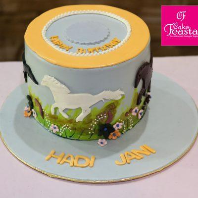 Running Horse Theme Birthday Cake