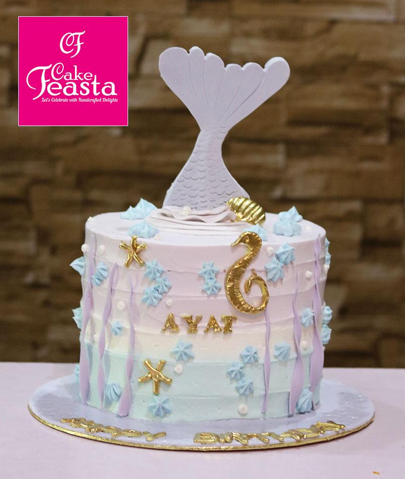 Ocean Blue Fish Birthday Cake