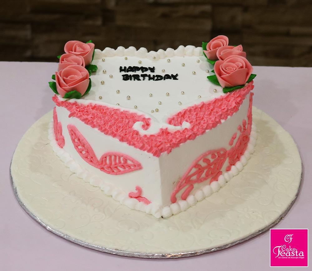 Rose Theme Heart Shaped Birthday Cake - Cake Feasta