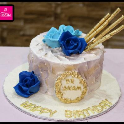 Blue Flowers Cream Birthday Cake