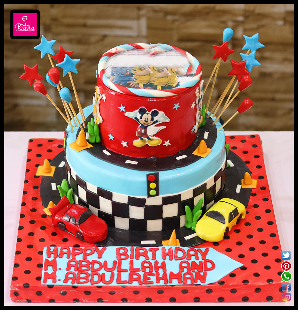 2 Tier Racing Car Theme Cake Customized Cakes In Lahore