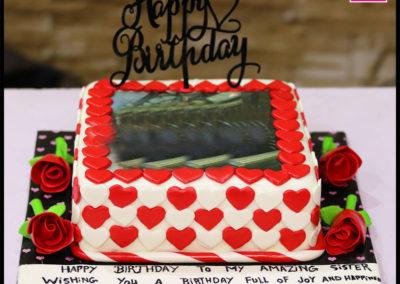 Heart Theme Picture Birthday Cake