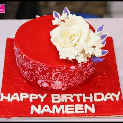 Red Base White Flower Birthday Cake