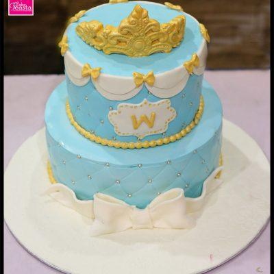 2 Tier Blue Kids Birthday Cake