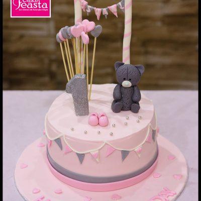 Bear Pink Girls Birthday Cake