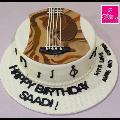 Music Theme Guitar birthday Cake