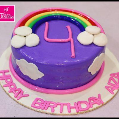 Rainbow In Sky Theme Birthday Cake