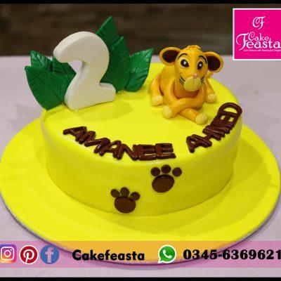 Simba Theme Kids Birthday Cake