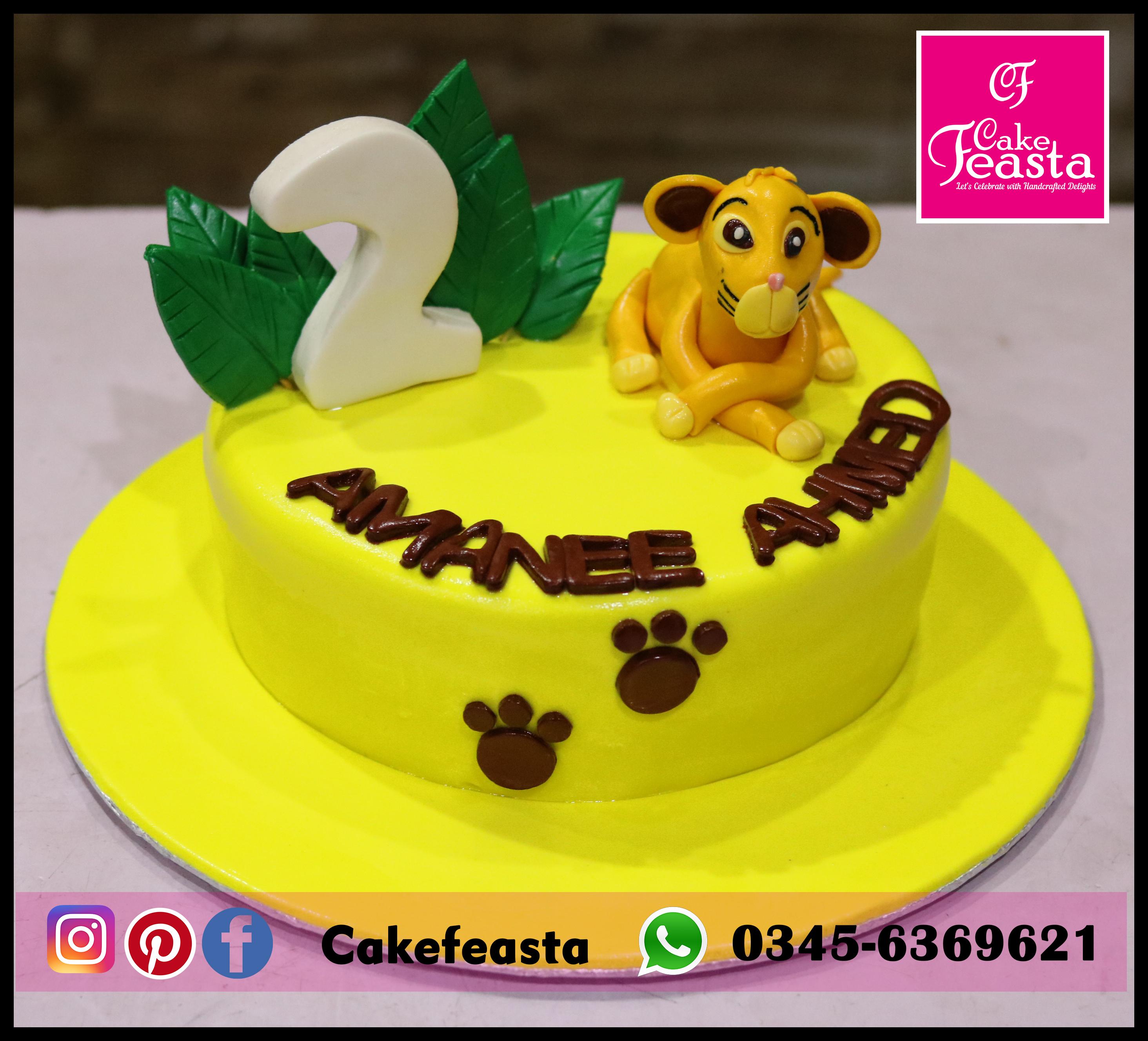 Simba Theme Kids Birthday Cake Lahore Cakes Cake Feasta