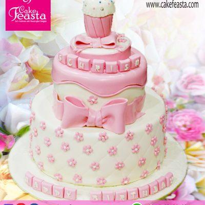 2-Tier-Pink-Flowers-Birthday-Cake