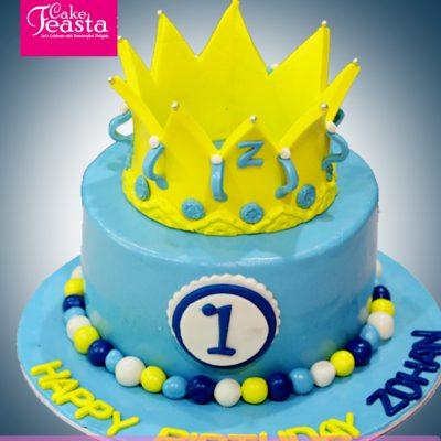 Yellow-Crown-Kids-Birthday-Cake