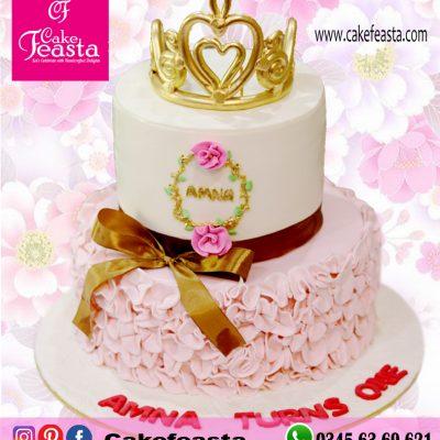 2-Tier-Golden-Crown-Birthday-Cake
