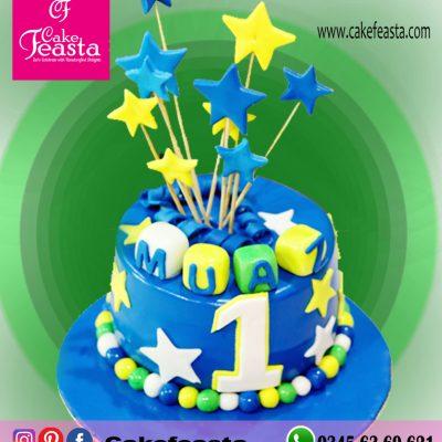 Blue Star 1st Birthday Cake