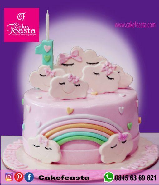 Clouds-Theme-Birthday-Cake