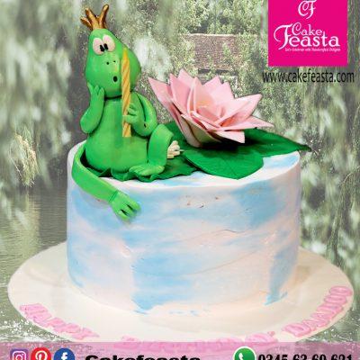 Frog Theme Birthday Cake