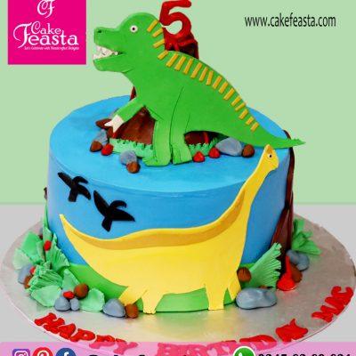 Dinosaur Theme Kids' Birthday Cake