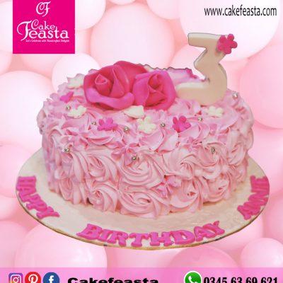Pink-Flowers-Birthday-Cake