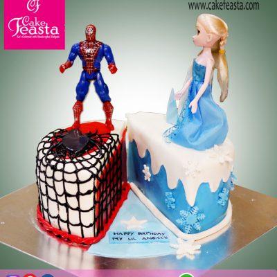 Spiderman & Elsa Theme Birthday Cake