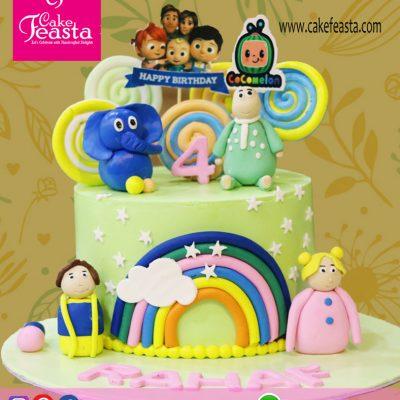 Cocomelon Theme Birthday Cake