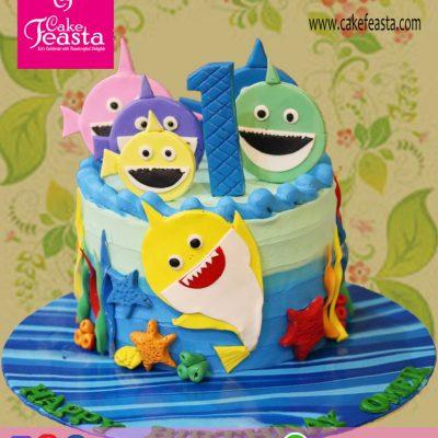 Small Fish Cartoon Birthday Cake