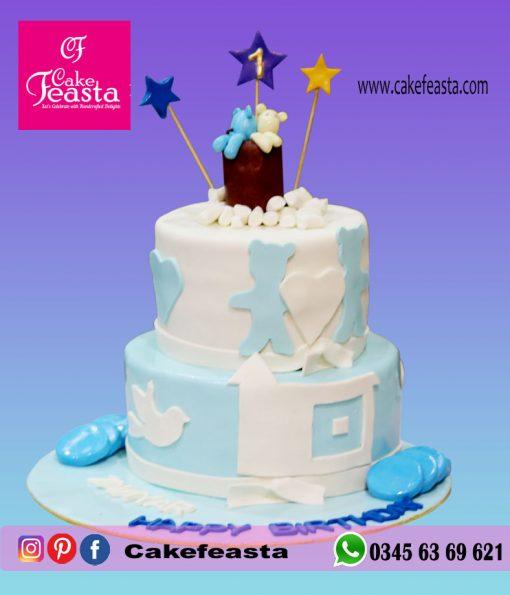 2 Tier Boy's First Birthday Cake