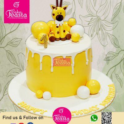 Yellow Theme Kid Birthday Cake