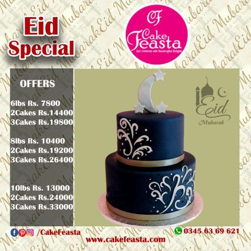 2 Tier Black & White Eid Cake