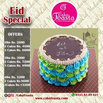 Fresh Cream Eid Mubarak Cake