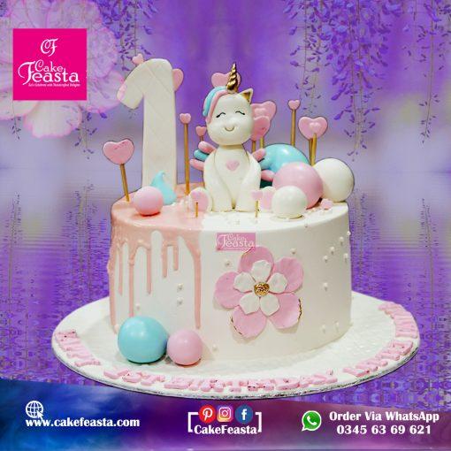 Unicorn Theme 1st Birthday Cake