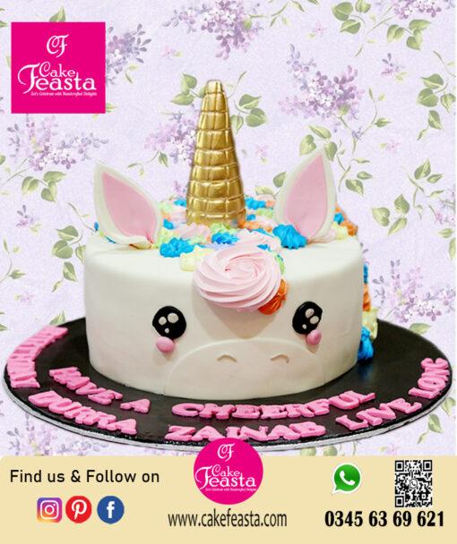 Unicorn Theme Kids Birthday Cake