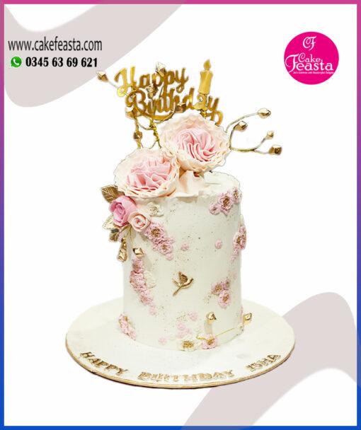 Pink & White Flowers Birthday Cake