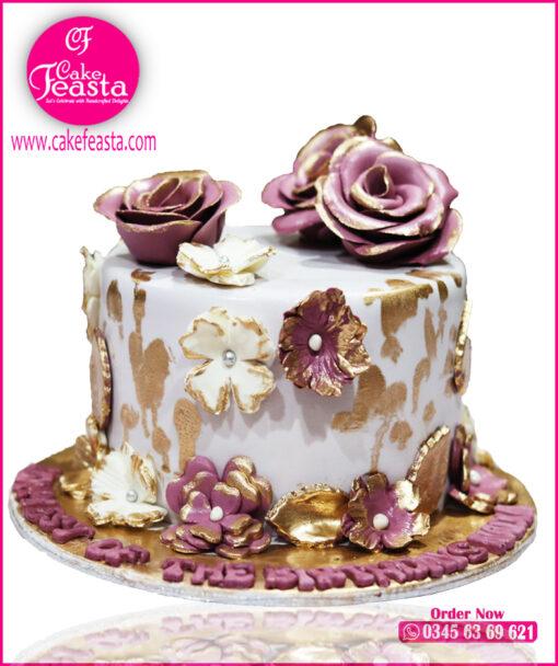 Purple White Decent Birthday Cake